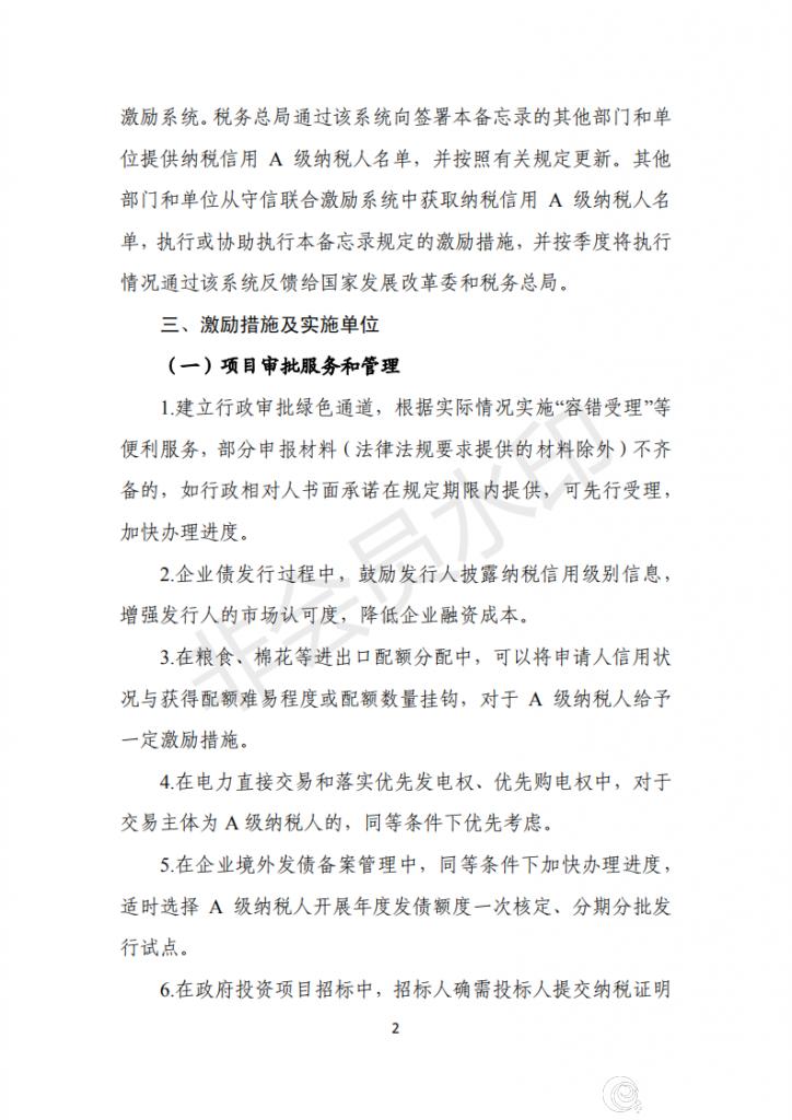 关于对纳税信用A级纳税人实施联合激励措施的合作备忘录 (1)_01.png